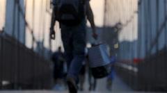 Pedestrian walking on bridge, New York City, USA Stock Footage