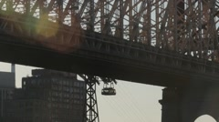 Overhead cable car moving by a Brooklyn Bridge, New York City, USA Stock Footage