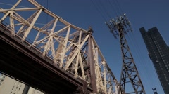 Overhead cable car moving near Brooklyn Bridge, New York City, USA Stock Footage