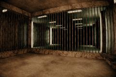 Old Worn Out Dwelled Private Prison Cell Scene - stock illustration