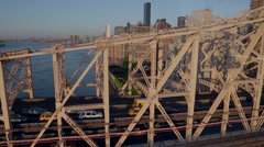 Vehicles moving on Queensboro Bridge, New York City, USA Stock Footage