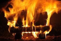 Strong flame in the furnace Stock Photos