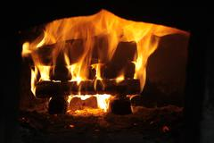 strong flame in the furnace - stock photo