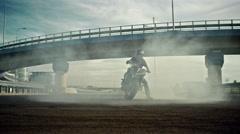 Smoking motorbike. Circle Burnout trick. Arkistovideo