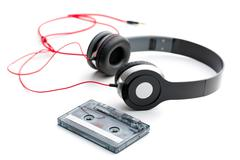 Cassette tape and headphones Stock Photos