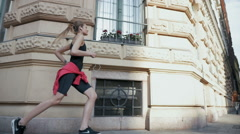 Young Sporty Girl Jogging In Slow Motion - stock footage