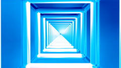 Broadcast Endless Hi-Tech Tunnel, Blue, Square, Loopable, 4K Stock Footage