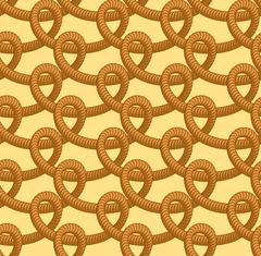 Loop rope seamless pattern. Thick rope ornament. Zigzag of braided rope. Brai Stock Illustration