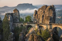 The Bastei bridge, Saxon Switzerland National Park, Germany - stock photo
