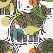 Vector seamless pattern with elephants crooked line on the background of colored Stock Illustration