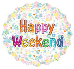 Stock Illustration of Happy Weekend decorative lettering text.