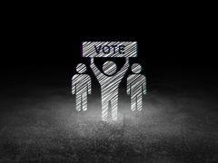Political concept: Election Campaign in grunge dark room Stock Illustration