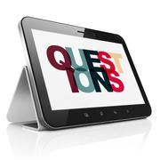 Studying concept: Tablet Computer with Questions? on  display - stock illustration