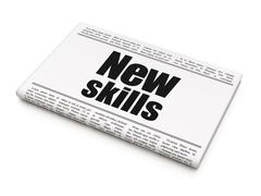 Education concept: newspaper headline New Skills Stock Illustration