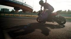 Burnout Motorbike  trick - stock footage