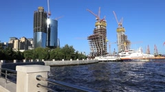 Construction of the 200-meter skyscraper business center- Republic of Azerbaijan Stock Footage