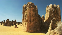 Panning left shot of the pinnacles in wa Stock Footage