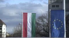 EU and Hungary flag Stock Footage