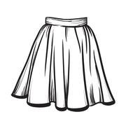 Stylish skirt model hand drawn vector illustration. - stock illustration