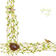 Spring twigs background. - stock illustration