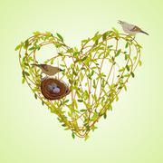 Spring twigs heart shape. - stock illustration