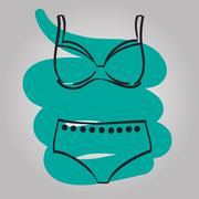 Woman swimming suit female swimsuit drawn vector. - stock illustration