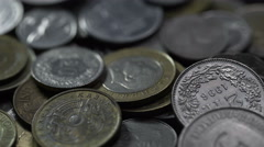 Nickel and copper coins of different countries of the world Stock Footage