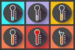 Thermometer icon set, High temperature symbol vector. Flat designed style. Stock Illustration