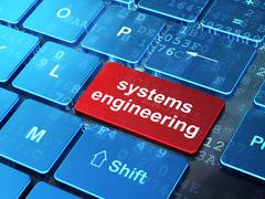 Stock Illustration of Science concept: Systems Engineering on computer keyboard background