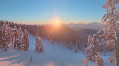 Beautiful high altitude dawn time lapse, sunrise in HDR, Winter Snow Landscape - stock footage