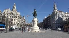 Statue in Porto (Avenida da Liberdade) Stock Footage