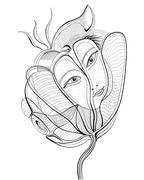 Surreal hand drawing flower with female face. Abstract graphic design, can us Stock Illustration