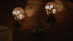 Lit the Lamp in the Form of a Skull Stock Footage