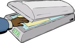 Hand placing paper in scanner - stock illustration