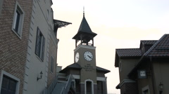 Beautiful Street With the Clock on the Tower Stock Footage
