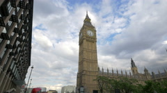 View of the famous Big Ben clock from Bridge Street in London Stock Footage