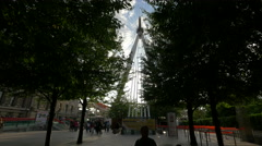 The famous London Eye seen from The Queen's Walk in London Stock Footage
