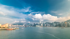 Hong Kong Harbor panorama cityscape timelapse - Central District, Victoria - stock footage