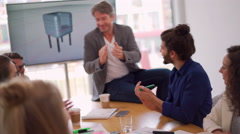 Start up business team applauding after successful meeting Stock Footage