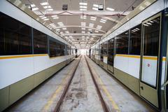 Trams in depot - stock photo