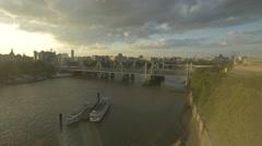 The famous Golden Jubilee Bridges seen from London Eye Stock Footage