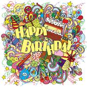 Stock Illustration of Happy Birthday doodle greeting card on background with celebration elements