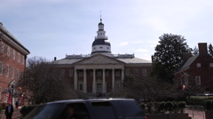 Maryland State House Front Wide Stock Footage