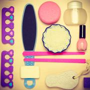 Pedicure accessories tools top view Stock Photos