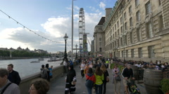 View of The Queen's Walk in London Stock Footage