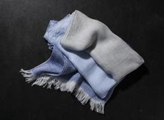 Blue and Gray Fringed Hand Towel Stock Photos