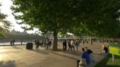 People walking in Jubilee Gardens in London Stock Footage