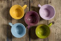 Five Tea Cups High Angle - stock photo