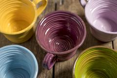 Five Tea Cups High Angle Close-Up - stock photo