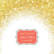 Perfect wedding template with golden confetti theme - stock illustration